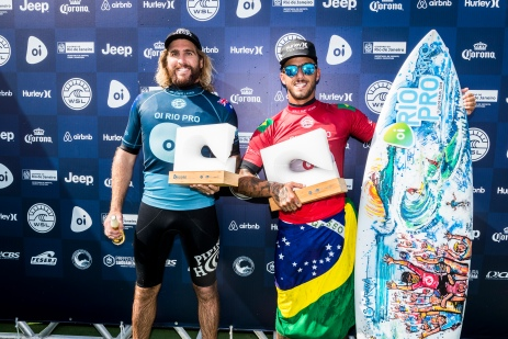 Filipe Toledo (BRA) and Wade Carmichael (AUS) Winner and Runner Up of the OI Rio Pro 2018 in Barrinha, Saquarema, Brazil